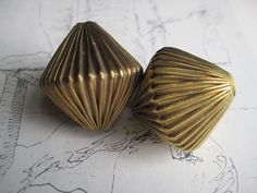 2 Large Vintage Bicone Brass Corrugated Beads   by StarPower99, $4.60