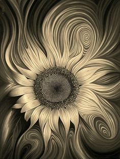 Sometimes the bad things that happen Sunflower Pictures, Sunflower Art, Sunflower Tattoos, Sunflower Seeds, Sunflower Wallpaper, Fractal Art, Fractals, Nature Pictures, Ink Art