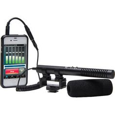 Azden SGM-990+I Supercardioid/Omni Shotgun Microphone with 2-Position Switch  Cool setup for an iPhone or iPod touch. I bet these could be mounted to a boom fairly easily, or even clipped into a mic stand for table top mounting.