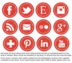 Green Web & Blog Buttons: 12 Social Media Buttons For Your Blog Design. $3.00, via Etsy.  Like these buttons.