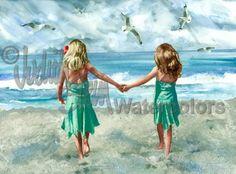 SŒURS de plage sur le bord de mer peinture aquarelle Art Print
