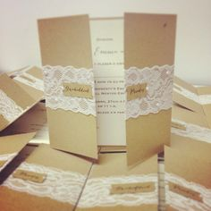 Pretty lace vintage style gatefold wedding invitations