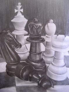 Drawing of chess pieces