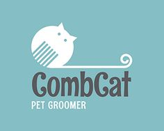 #logo Comb Cat Logo design - A chubby and round cat shaped like a comb. Animal shelters, pet shops, pet grooming salons,  children / kids