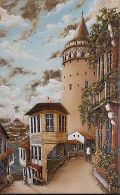 Istanbul galata – Şilan Karabulut – Join in the world of pin Watercolor Landscape, Landscape Paintings, Turkish Art, Pyrography, Islamic Art, Watercolor Illustration, Art Techniques, Painting Frames, Home Art