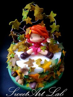 Playing in leaves Cake