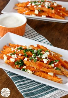 Buffalo Sweet Potato Fries Recipe from @Jessica l A Kitchen Addiction