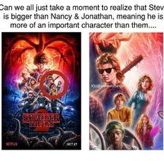 Steve has been a more important character since the last episode of season one! - Steve Harrington - Jonathan Byers - Nancy Wheeler - Stranger Things