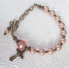 Rosary Bracelet Adjustable Swarovski Rose Gold Glass by GalleryTen
