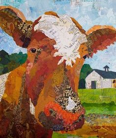 Contented Cattle I  Painted Paper Collage