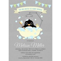 BSB016  Boy Penguin in Bathtub Baby Shower Invite  by LeePaperie