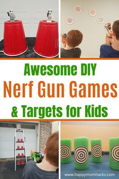 Cool Nerf Gun Games for Kids. Get fun Nerf Game Ideas like Capture the Flag and Humans vs. Enjoy playing both indoors and outdoors with DIY Target ideas too. Perfect for Birthday Parties or just a fun afternoon. Birthday Party Checklist, Nerf Birthday Party, Zombie Birthday, Birthday Ideas, 8th Birthday, Nerf Gun Games, Cool Nerf Guns, Diy Games, Cool Games