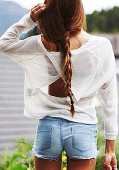 Cutout Back Long sleeved Shirts – White - Cutout Back Detailing