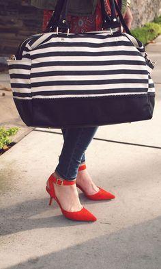 Striped, roomy weekender bag.