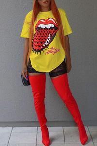 Roaso Leisure Round Neck Short Sleeves Printed Yellow Cotton T-shirt L White Casual T Shirts, Casual Tops, Stylish Shirts, Cheap Shoes Online, Yellow Shirts, Plus Size Shorts, Wholesale Clothing, Pattern Fashion, Moda Femenina