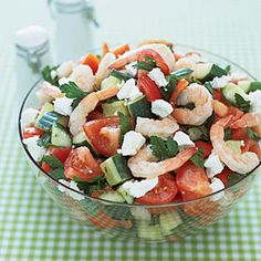 Greek Salad with Shrimp...would add romaine, kalamata olives, and peperoncini though!