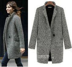 Winter Trench Coat Women Grey Medium Long Warm Wool Jacket  Fashion thickened  Overcoat