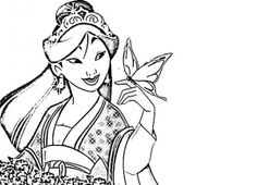 Mulan, : Mulan in Her Chinese Imperial Dress Coloring Page