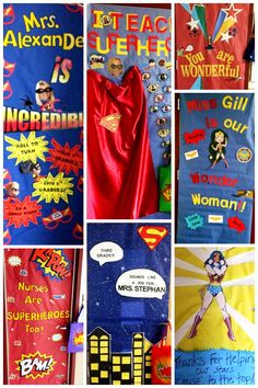 "My favorite doors from ""super hero"" teacher appreciation week! Cute idea - decorate the doors for teacher appreciation week! Superhero School Theme, Superhero Teacher, School Themes, Classroom Themes, Superhero Ideas, Superhero Classroom Door, Classroom Organization, Teacher Appreciation Week, Teacher Gifts"