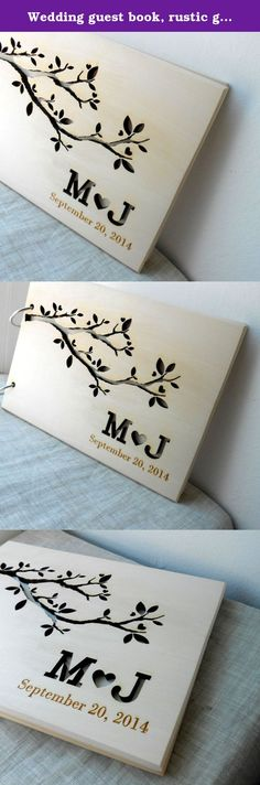 """Wedding guest book, rustic guest book, wooden wedding guest book album, personalized custom laser engraved guest book. Wooden wedding guest book. Rustic wedding sign in album. Size: 5,75"""" x 8,25"""" (14,6 cm x 21 cm) A5. Contains 30 sheets of light tan 80g/m2 paper. You can choose the color of the first page - the one you can see through the cut outs. Please write the names and date in the personalization section and also write the color of the first page.*************** Our production time..."""