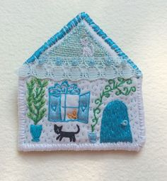 Pet Brooch The Cat house hand embroidered textile door MakikoArt