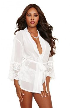 Chiffon Lace Short Kimono Robe   Cheeky Panty White Lg ed494ae77