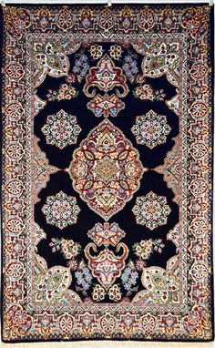 Isfahan Silk Persian Rug - Item# 240 Category: Small(3x5-5x8) Persian Rugs Design: Isfahan Size: 134 x 210 (cm) 4' 4 x 6' 10 (ft) Origin: Persian, Isfahan Foundation: Silk Material: Wool & Silk Weave: 100% Hand Woven Age: Brand New KPSI: 700
