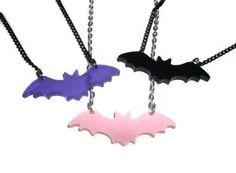 Bat-Necklace-Laser-Cut-Pastel-Goth-Pink-purple-or-black-Pendant-Creepy-Cute