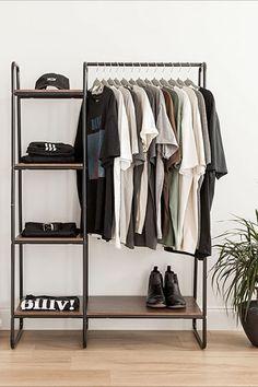 Bedroom Closet Storage, Bedroom Setup, Apartment Bedroom Decor, Room Design Bedroom, Room Ideas Bedroom, Home Room Design, Bedroom Small, Clothes Rack Bedroom, Wooden Clothes Rack