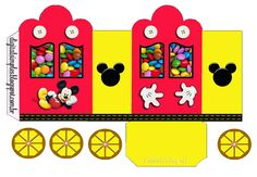 Mickey in Yellow and Red: Princess Carriage Shaped Free Printable Boxes. Printable Box, Mickey Birthday, Mickey Party, Mickey Mouse Template, Paper Toys, Paper Crafts, Mickey Craft, Miki Mouse, Mickey Mouse Clubhouse