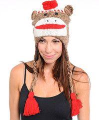 Sock Monkey Winter Hat, only $8!