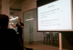 My first tech talk at JS-Montreal last night: Demystifying multi-process #JavaScript with the #NodeJS Cluster API.  Photo credit: @ameliie_13