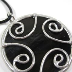 Midnight - Stained Glass Pendant with Black Cord by faerieglass