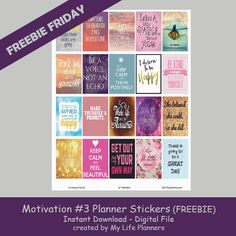 Last week's Freebie Friday Motivation Planner Stickers were so popular that I have been asked to provide additional motivation stickers for this week. Needless to say, this week features more motivation to help you stay on track for your goals. I hope these stickers will help keep you positive and focused. These stickers will fitRead More