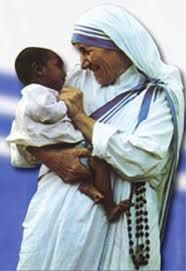 """Mother Teresa:  """"Love begins by taking care of the closest ones - the ones at home."""""""
