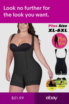 76404e051dd US Women Compression Full Body Shaper Slim Bodysuit Underbust Corset Plus  Size