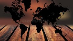 World map wood background. A world map on wood table background. stock photography Wood Table Background, Map Background, Wood World Map, Technology Background, Globe, Stock Photos, Sunset, Abstract, Digital