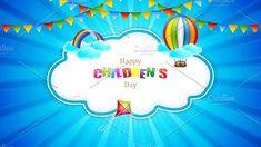 Happy Children's day by gigello Happy Children's Day, Happy Kids, Vector Illustrations, Graphic Illustration, Cloud Shapes, Child And Child, The Creator, Concept, Birthday