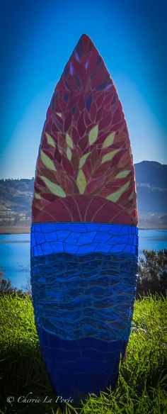 San Diego Sunset Mosaic Glass Surfboard www.cherrielaporte.com Mosaic Glass, Mosaic Tiles, Fused Glass, Stained Glass, Glass Art, Coolest Cooler, Mosaic Artwork, Surfboard Art, Custom Glass