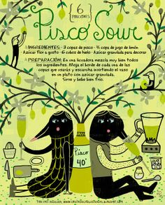 Receta de Pisco Sour de #Chile para 6 porciones.