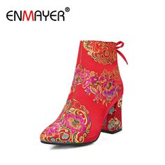 36.41$  Watch here - http://aifii.worlditems.win/all/product.php?id=32725533604 - ENMAYER Ankle Boots for Women Zip Silk Bowtie Pointed Toe Winter Boots Shoes Woman Shoes Short Plush Red Flower Wedding Shoes