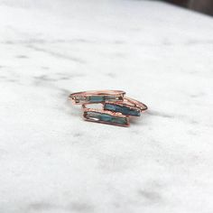 Etsy Rough Aquamarine Ring Rose Gold - Different but sweet