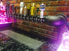 www.tappedbeer.com  Custom draft beer towers  Our black iron wall tap system. #tappedbeer Tapped Beer