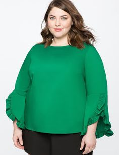 View our Ruffle Sleeve Top and shop our selection of plus size designer women's Tops, plus size clothing and fashionable accessories. Plus Size Tops, Plus Size Women, Plus Size Dresses, Plus Size Outfits, Plus Size Designers, Curvy Outfits, African Fashion Dresses, Fast Fashion, Ruffle Sleeve