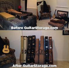 This customer used a Studio™ #Guitar Case #Storage Rack to #organize their collection that was sprawled all over their spare bedroom. View Product Details at http://www.guitarstorage.com/shop/guitar-case-rack-studio-deluxe/