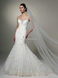 wedding gown - Style Sophia Tolli Olga Strapless sweetheart neckline A-Line Lace Crystal Beading www.kalianas.com