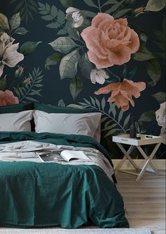 Dark Green and Pink Floral Wall Mural Moody and marvellous, this dark floral wallpaper brings a luxurious feel to your bedroom. Sumptuous tones of emerald green and pinkish hues come together to give a truly elegant wallpaper design.
