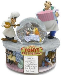 Disney Lady and the Tramp deluxe snowglobe