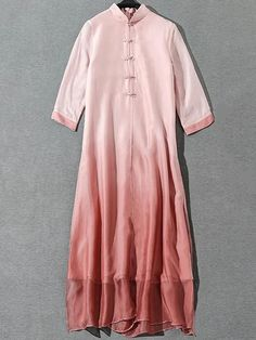 Elegant Stand Collar Silk Pure Color Shift Dress