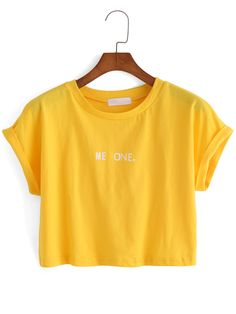 Shop Letter Print Crop Yellow T-shirt online. SheIn offers Letter Print Crop Yellow T-shirt & more to fit your fashionable needs.